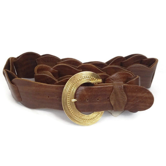 Beautiful Boho White Woven Plaited Leather Disc Belt